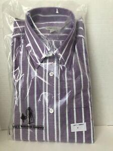J-Peterman-Shirt-Mens-Size-M-Purple-Long-Sleeve-Dress-Shirt-Medium-Stripe-1817