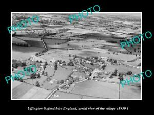 OLD-LARGE-HISTORIC-PHOTO-UFFINGTON-OXFORDSHIRE-ENGLAND-TOWN-AERIAL-VIEW-c1950-2