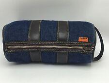 Vintage 1970's Levi's Orange Tab Denim Zip Cylindrical Round Toiletry Bag Rare
