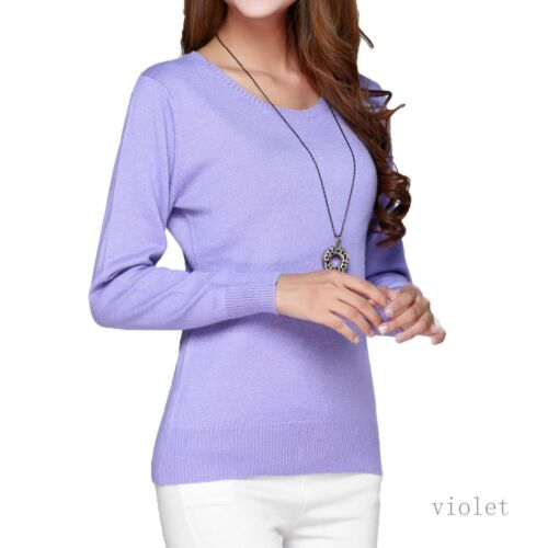 V Neck Sweater Long Sleeved Top Womens Wool Jumper Cashmere Cardigan Size 14-6