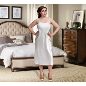 Image Is Loading Satin Full Length Nightdress Slip Gown Pjs Plus