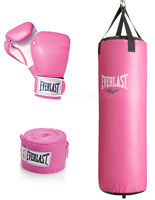 Everlast 70 Lb Heavy Punching Boxing Bag 12 Oz Gloves Wraps Womens Girls Pink