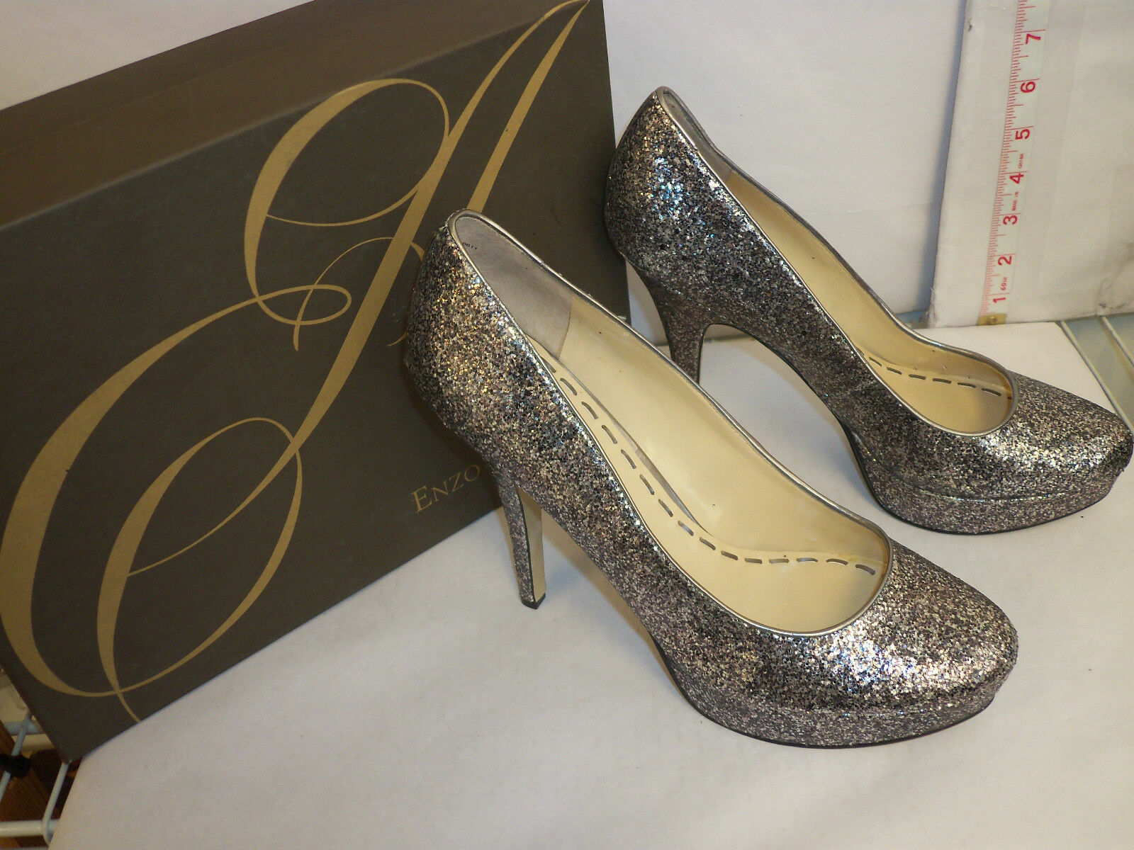 Enzo Smiles Angiolini New Womens Smiles Enzo Silver Pewter Classic Heels 8.5 M Shoes NWOB 838e25