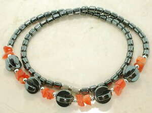 18-INCH-HEMATITE-NECKLACE-WITH-ORANGE-BEADS