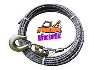 """3/8"""" x 100' EIPS IWRC STEEL CORE WRECKER WINCH CABLE w/ SWIVEL HOOK"""