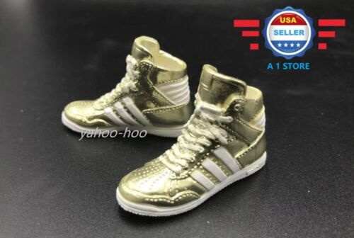 1//6 Adidas style Gold color sneakers PEG STYLE for 12/'/' FEMALE Figure Doll