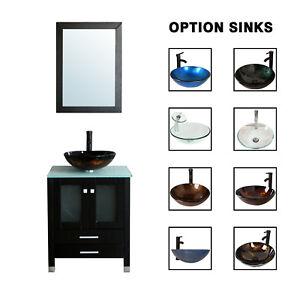 Bathroom Vanity 24 Single Cabinet 8 Glass Vessel Sink Combo W