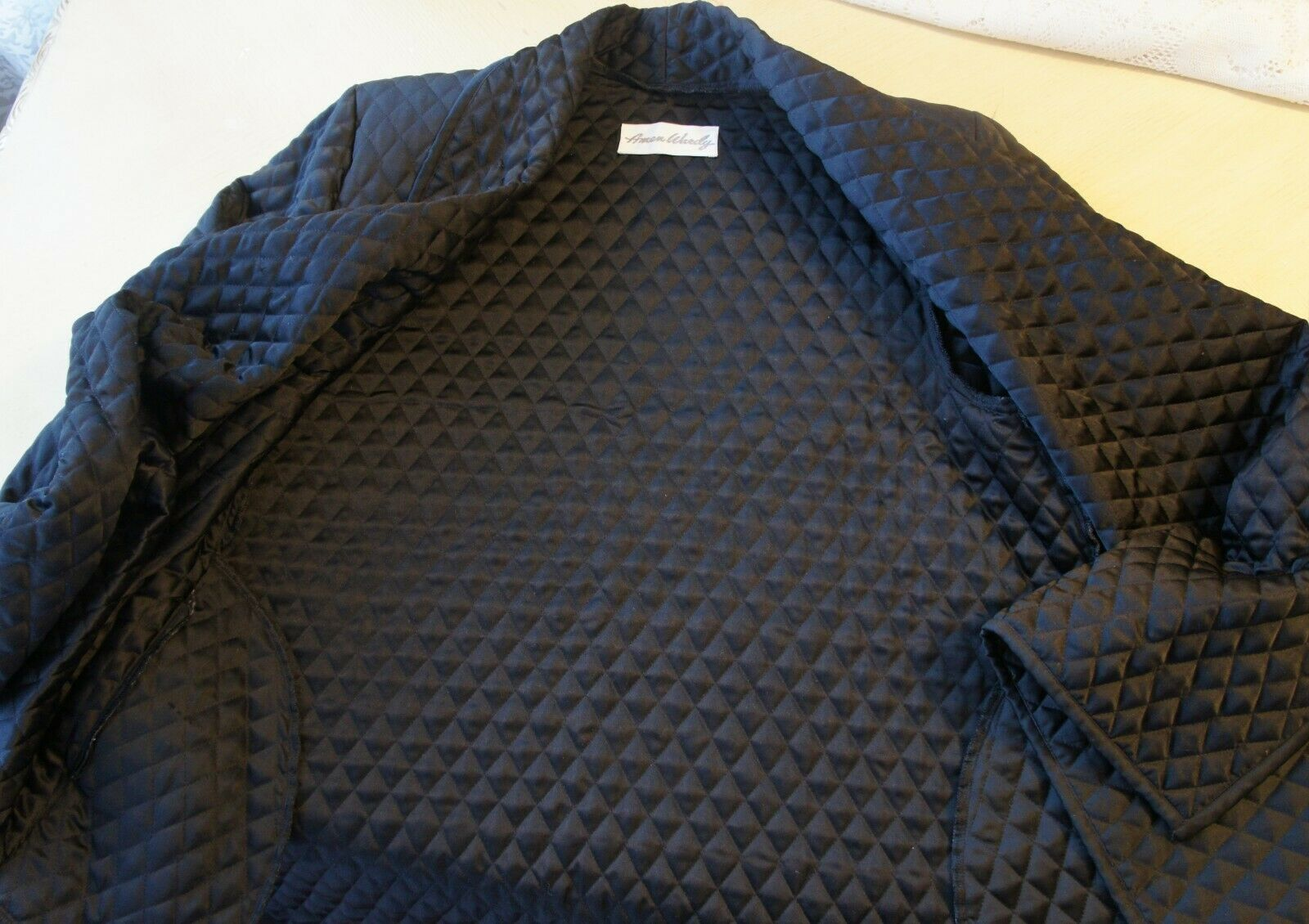 Auth Amen Wardy Black Quilted Open Jacket Sz M - image 7