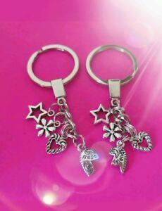 Best-friends-silver-tone-split-heart-key-rings-bag-Charm-Set-Of-2