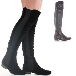 Ladies-Over-Knee-Flat-Thigh-High-Winter-Low-Heel-Wide-Calf-Leg-Knee-Boots-Size