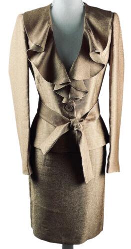 ANNE KLEIN SUIT Jacket Ruffle Lapels Tie Belt Skir