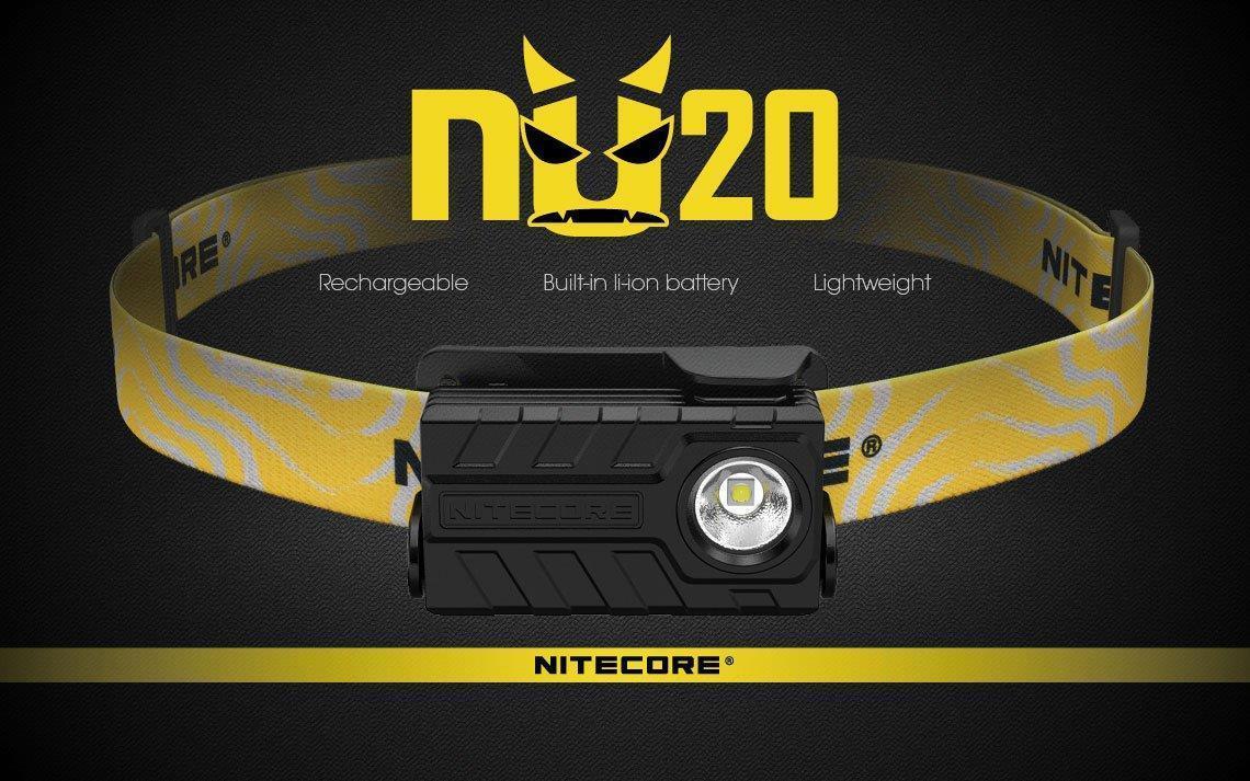 Nitecore NU20-Ultra leggero 360 Lumen Torcia da Testa Ricaricabile-NERO