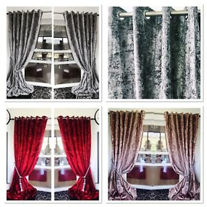 Image Is Loading Crush Velvet Curtains Eyelet Ring Top Thick Ready