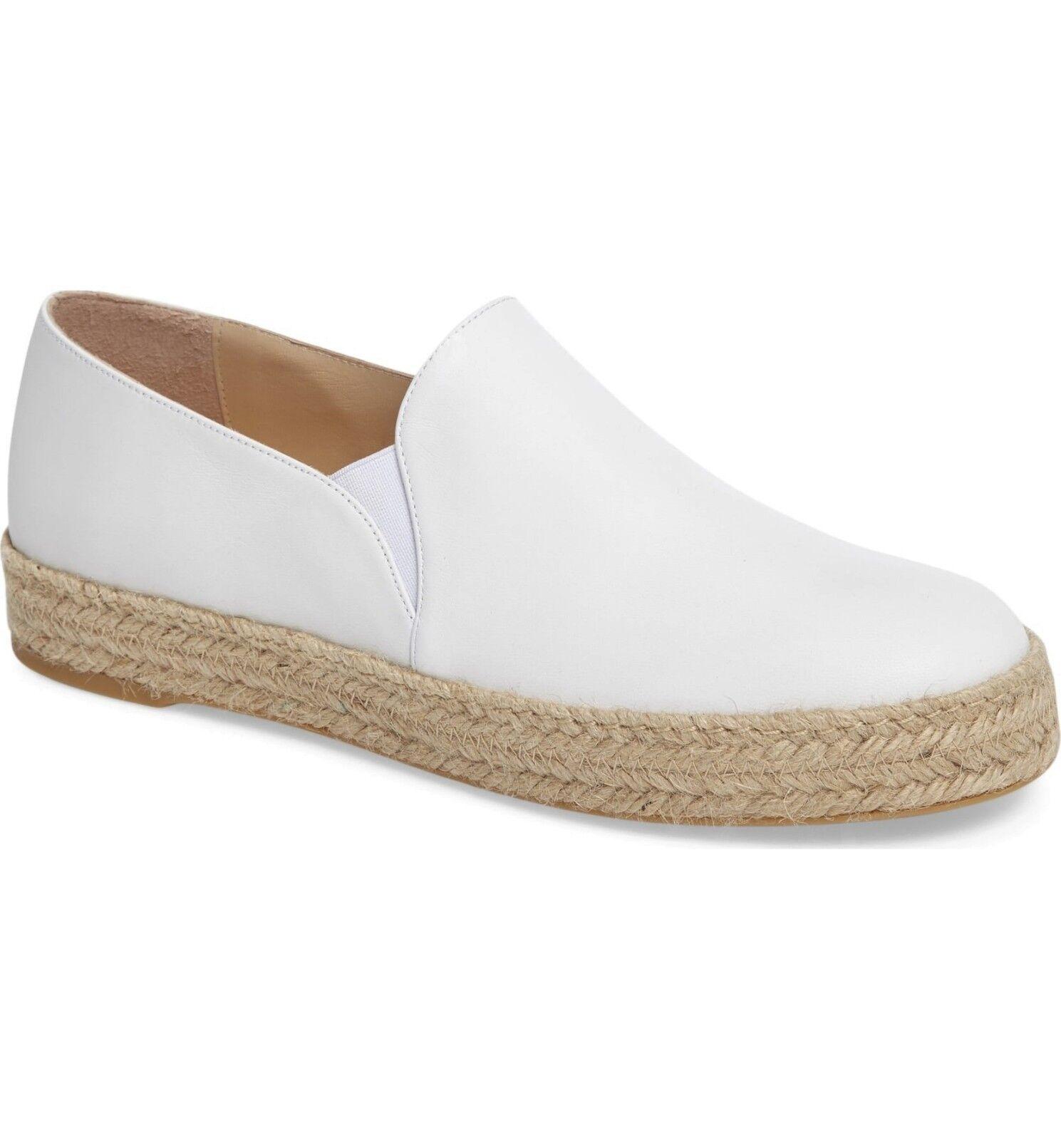 Stuart Weitzman Nugal White Nappa Size 8 Espadrille Slip On Sneaker Flats