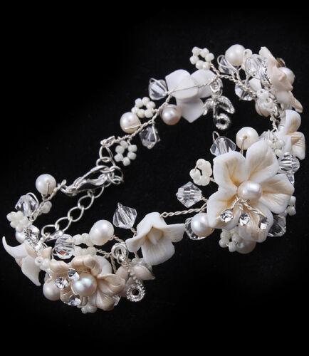 14B Porcelain Flower Crystal & Ivory Pearl Bridal Bracelet Nuptial Grace
