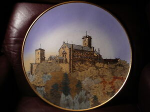 S20-HUGE-ANTIQUE-METTLACH-VILLEROY-BOCH-HP-CHARGER-PLATE-CASTLE-17-5-034-GERMANY