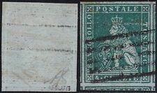 1852 Toscana, n° 6c verde azzurro usato Cert. Bolaffi Finanziario 80% Sigla AD