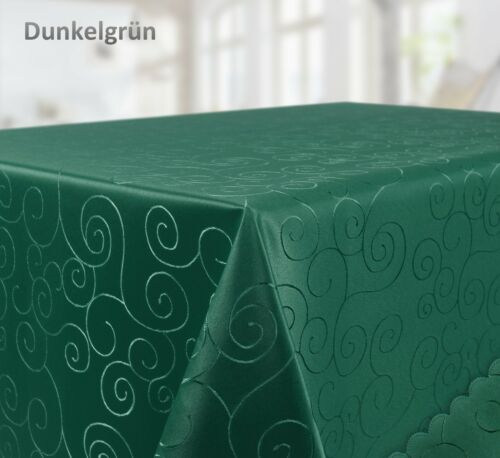 Farbe wählb Tischdecke Ornamente Kreise Motiv Bronze Damast Stoff Eckig 160x360