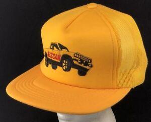 5a05f1fedcf Vtg 80s Mesh Trucker Hat Snapback Cap Nissan Truck Automobile ...