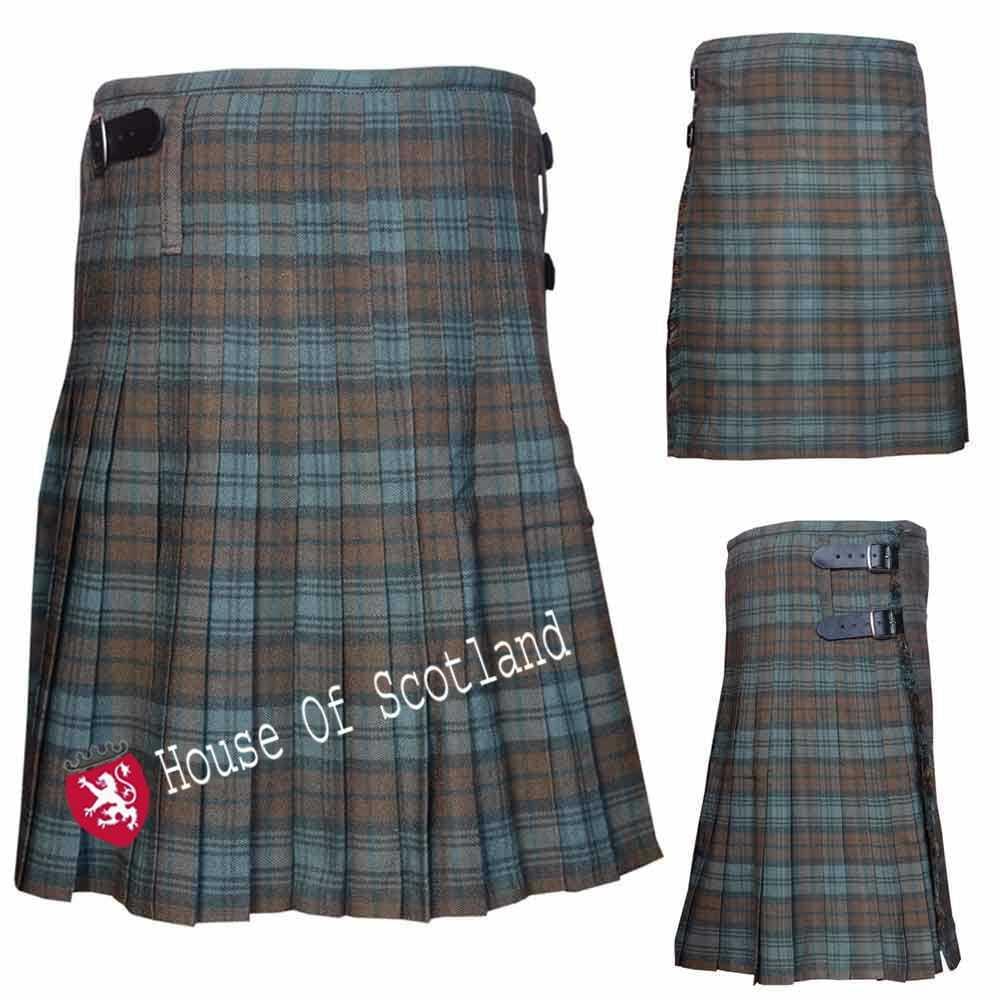 Men's Scottish Traditional Kilt Weathered Black Watch 8 yards 16oz Acrylic Wool