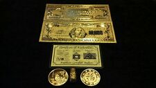 <OLD STYLE U.S  GOLD NOTE>RAISED DETAIL$10,000 Rep*BILL W/COA+COIN&Flake