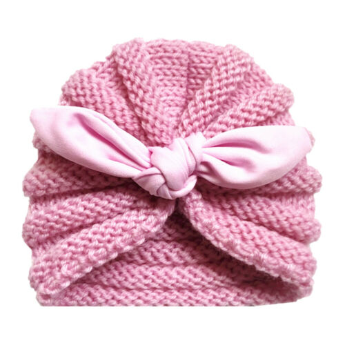 Newborn Baby Girls Winter Warm Knitted Baby Hat Infant Bow Knot Beanie for 0-2Y