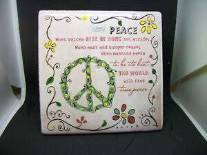 Peace Decorative Tile W Hanger Easel Peace Sign Plaque World