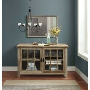 Details About Rustic Weathered Wood 2 Tempered Gl Doors Console Sideboard Buffet Table Cabi