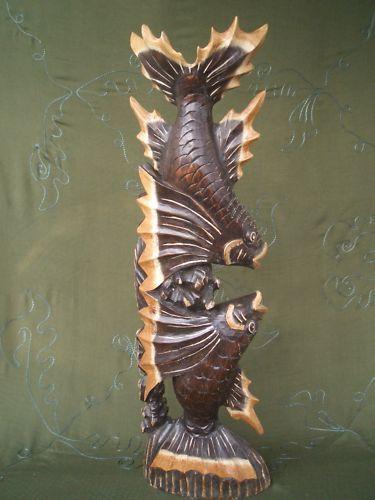 80 cm Fisch Holzfische Holz Schnitzerei Figur Skulptur