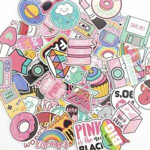 60Pcs-Pack-Anime-Cute-Pink-Stickers-Decals-Skateboard-Car-Laptop-Luggage-Vinyls