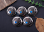 10PC 30MM INDIAN CHIEF TURQUOISE BLING SLIVER SCREW BACK LEATHERCRAFT CONCHOS