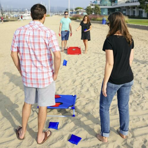 GoSports Portable PVC Framed CornHole Game Set w 8 Bean Bags and Carrying Case
