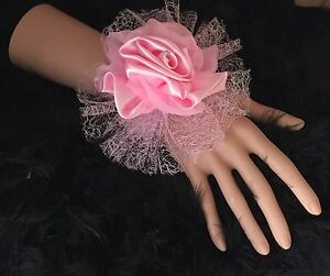 New-Bespoke-Pink-Satin-Rose-Wrist-Corsage-Bride-Bridesmaid-Wedding-Proms-Races