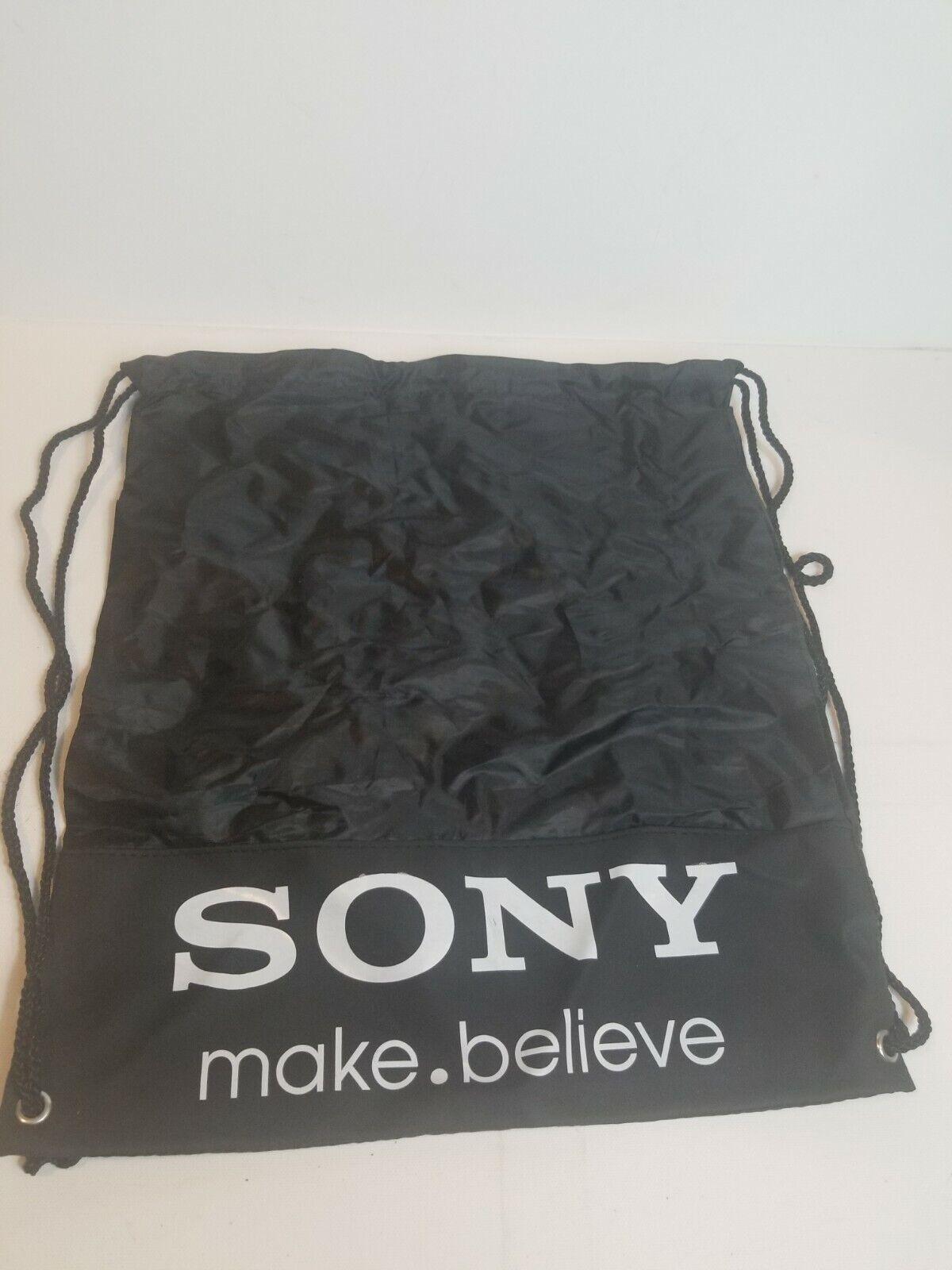 Sony Make Believe Rare Cinch Bag Sack Drawstring Black White Perfect Line