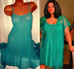 Stretch-Lace-Chemise-and-Robe-Set-1X-2X-Short-Nightgown-Green-2-Piece-Plus-Size
