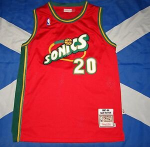 buy popular 4c2fd 9fda6 Details about NBA USA Seattle Supersonics Gary Payton Mitchell & Ness  Jersey Shirt Large