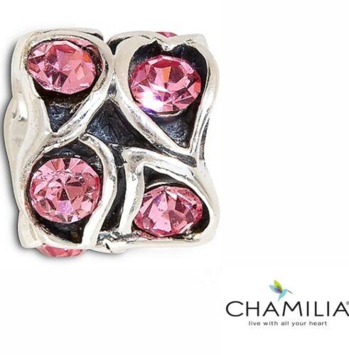 Genuine Chamilia 925 pink zirconia paisley bracelet charm bead JA-46B