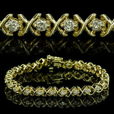 3 carat DIAMOND TENNIS BRACELET, NATURAL ROUND DIAMONDS in 14K SOLID YELLOW GOLD