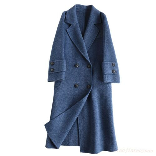 Womens 100/% cashmere coat Korea style loose fit mid long style jackets Chic