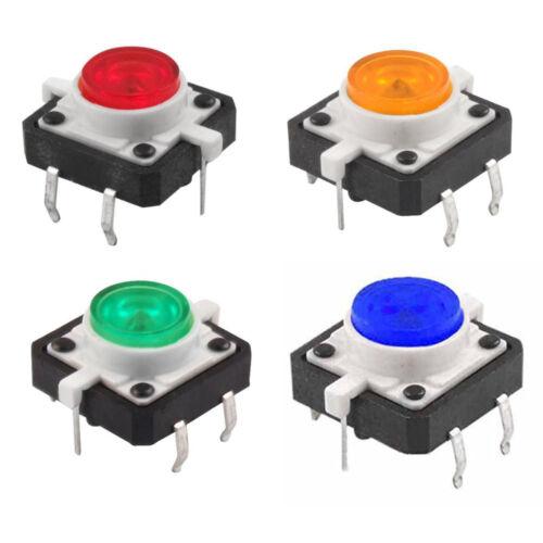 3pcs 12x12mm Illuminated Tact Switch Button Switch LED 4 pin Reset s261