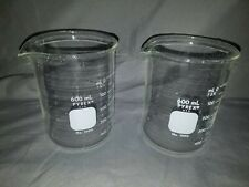 Pyrex Lab Chemistry Griffin Beakers 600 Ml 600ml Used Set Of 2
