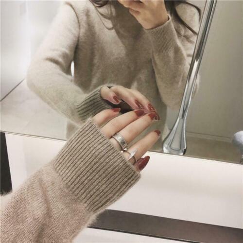 Femmes Col Roulé Décontracté 100/% cashmere Sweater Manche Longue Chaud Pullover Tops New