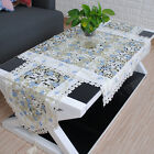New Blue Flower Tablecloth Embroidered Doily Table Runner with Lace Table Cover
