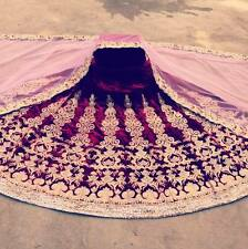Designer Maroon  bridal lehenga with complete stone work  purple Oyster