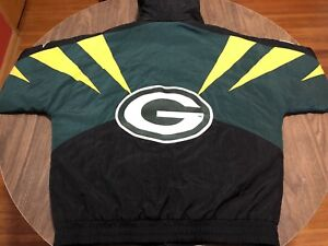 Vintage Apex One Green Bay Packers Large Winter Jacket NFL Football 90s