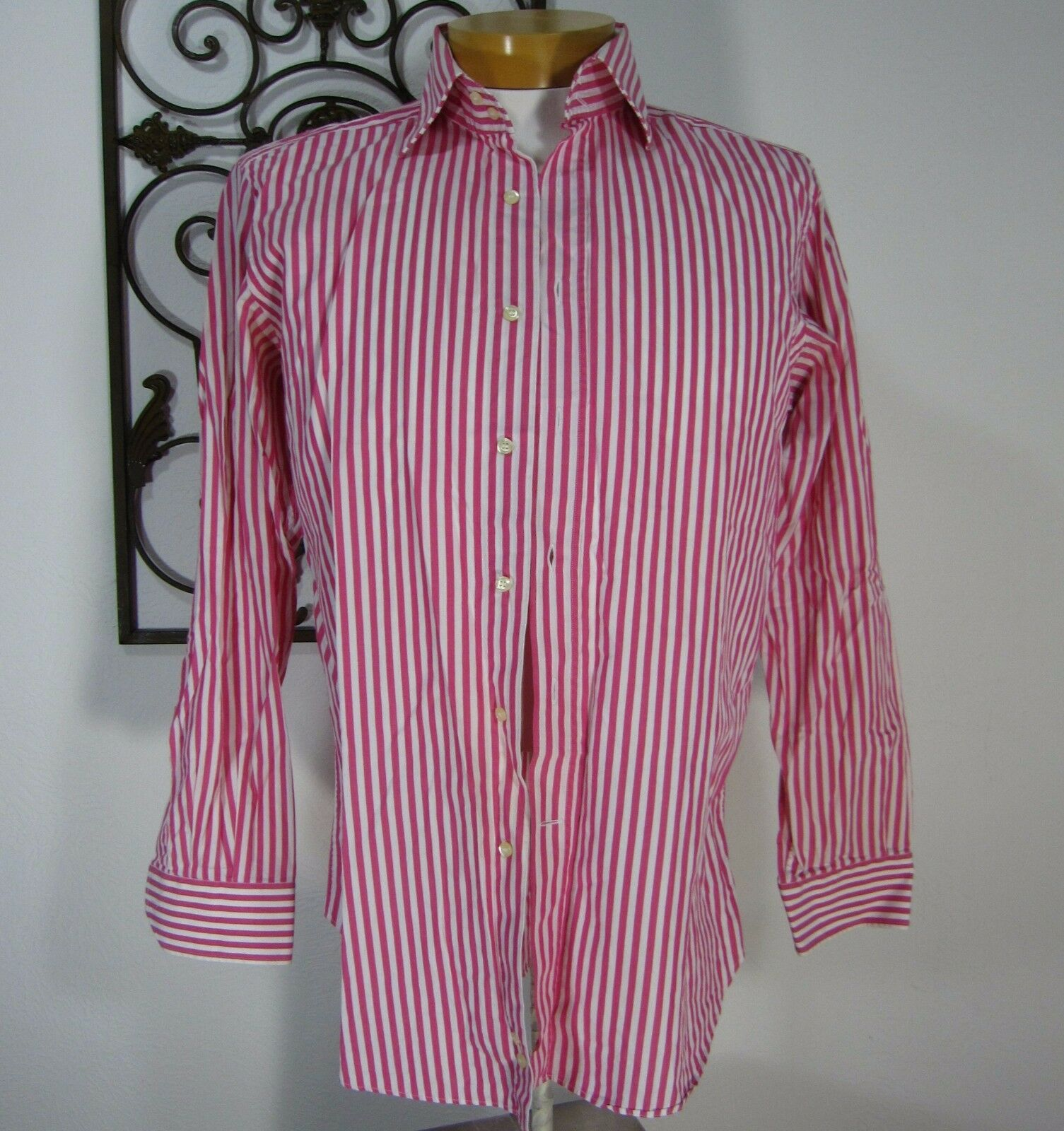 ETRO MILANO ITALY  COTTON LONG SLEEVE CASUAL SHIRT SIZE 41 PINK WHITE STRIPED