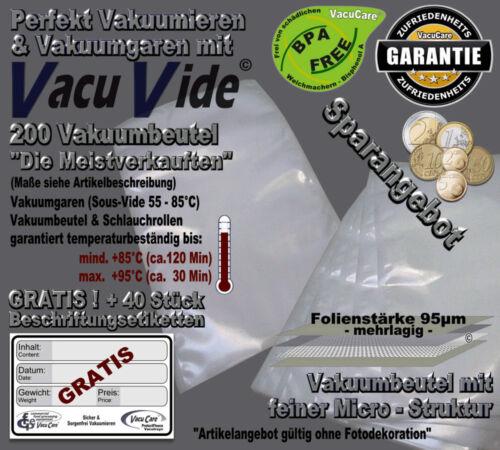 "200 Strukturbeutel 20x30cm 40 Etiketten GRATIS /""VacuVide/"" Incl Feine Struktur"