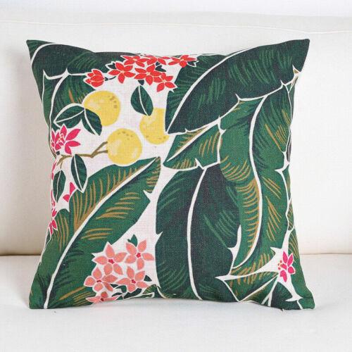 Cotton Cushion Pillow Tropical Waist Decor Linen Cover Home Case Throw Green