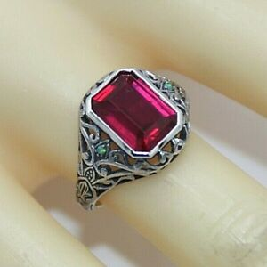 Rubin-Ring-Rubin-amp-Opal-synth-925-Sterling-Silber-57-Antik-Style