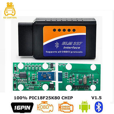 ELM327 v1 5 Bluetooth PIC18F25K80 obd2 bluetooth adapter Car Scanner For  Android | eBay
